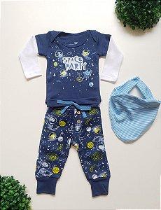 Combo Space Body + Calça + Babador Bebê Masc - Kiko Baby