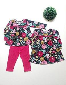 Combo Floral Conjunto + Vestido 1 a 3 Fem - Nanai