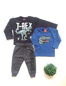 Combo Dinossauro Conjunto + Camiseta 1 a 3 Masc - Kyly