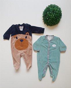 Combo 2 Macacões longos Plush Bebê Masc - Nuvem Azul