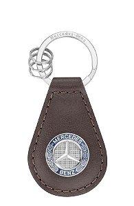 Chaveiro Classic Marrom Prata Couro Aço Unissex Mercedes-Benz