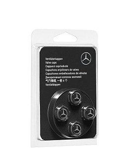 Jogo de 4 Tampas das Válvulas Roda Mercedes Benz Preto Cromado