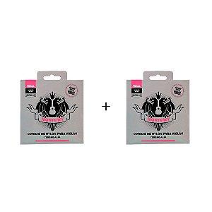 Kit 2 jogos de encordoamento Monterey Nylon Prata para Violão Tensão Alta