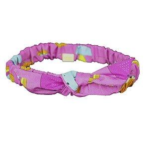 Faixa de Cabelo com Elástico e Laço Bichos Pink