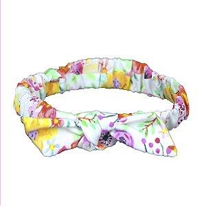 Faixa de Cabelo com Elástico e Laço Spring Multicolorido