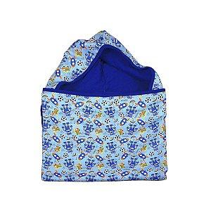 Toalha Super Absorvente com Capuz Brinquedos Azul