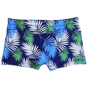 Boxer com Forro Protetor Folhas Azul