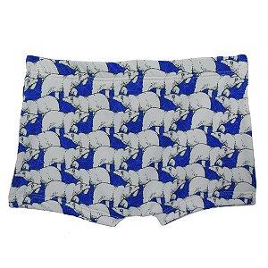 Boxer com Forro Protetor Urso Polar Azul