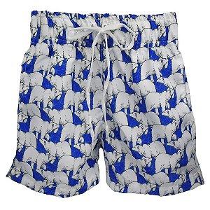Short com Bolso Embutido Urso Polar Azul