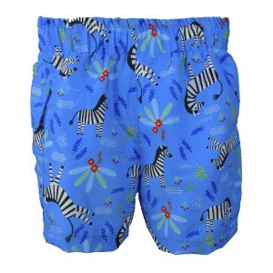 Short com Fralda Embutida Reutilizável Zebra Azul