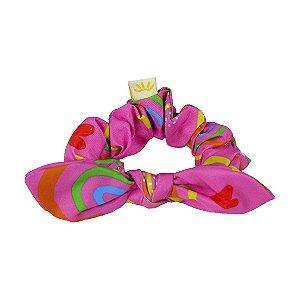 Xuxinha de Cabelo com Elástico e Laço Arco Íris Rosa