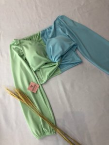 Cropped Duo Azul e Verde