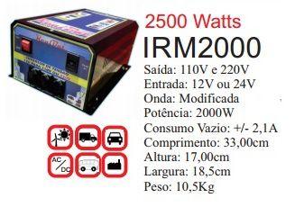 Inversor de Energia 12v ou 24v 2000w onda modificada