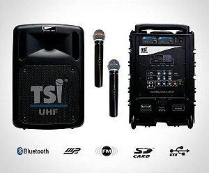 Caixa de som multifuncional com dois microfones UHF TSI-CSM100-UHF