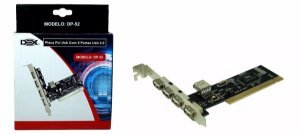 PLACA PCI C/ 4 PORTAS USB 2.0 DEX