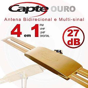 Antena Digital Externa Capte Ouro Amplificada 4x1