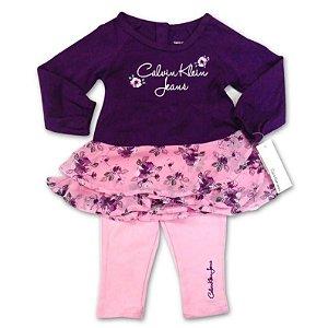 Calvin Klein Vestido Lilás Flores + Legging