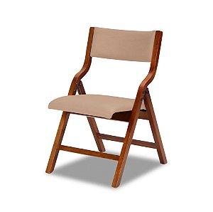 Cadeira Audace Dobrável Cor Castanho Assento E Encosto Estofado Corano Cor Manteiga 4.2.5