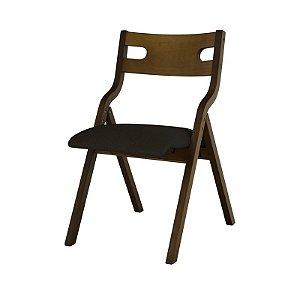Cadeira Audace Dobrável Cor Castanho Assento Estofado Dunas Preto 4.2.157 E Encosto Madeira