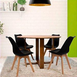 Conjunto Sala De Jantar E Cozinha Mesa Stabile Ø120cm Com 4 Cadeiras Joly cor Preta