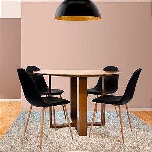 Conjunto Sala De Jantar E Cozinha Mesa Stabile Ø120cm Com 4 Cadeiras Charla BM cor Preta
