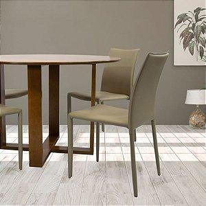 Conjunto Sala De Jantar E Cozinha Mesa Stabile Ø120cm | 4 Cadeiras Glam Corino cor Fendi
