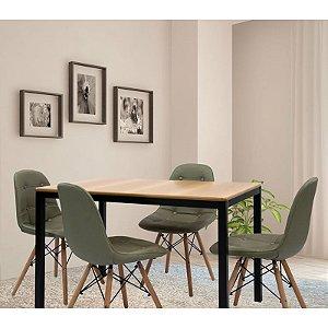 Conjunto Sala De Jantar E Cozinha Mesa Solin 120 x 80 cm 4 Cadeiras Botonê cor Fendi