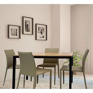 Conjunto Sala De Jantar E Cozinha Mesa Solin 120 x 80 cm com 4 Cadeiras Glam Corino cor Fendi