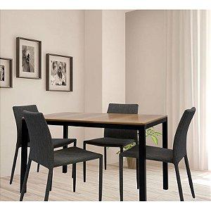 Conjunto Sala De Jantar E Cozinha Mesa Solin 120 x 80 cm com 4 Cadeiras Glam em linho cor Cinza claro