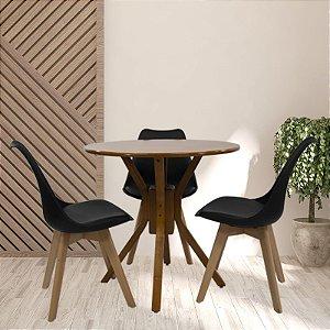 Conjunto Sala De Jantar e Cozinha Mesa Santiago Ø70cm Com 3 Cadeiras Joly cor Preta