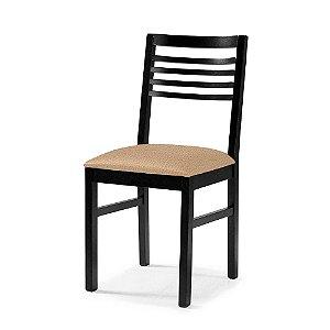 Cadeira Buenos Aires em madeira cor Ébano Assento Estofado Corano Cor Manteiga 4.2.5