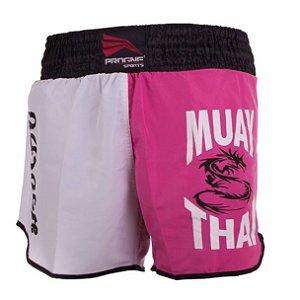 Shorts de Muay Thai Feminino - Rosa / Branco - Progne