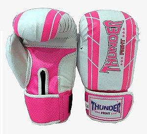 Luva de Boxe / Muay Thai 10oz Feminina - Rosa / Branco - Thunder Fight