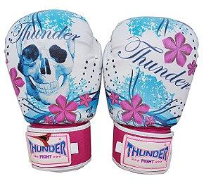 Luva de Boxe / Muay Thai 10oz Feminina - Caveira Azul / Rosa - Thunder Fight