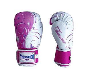 Luva de Boxe / Muay Thai 10oz Feminina - Borboleta Rosa  - Thunder Fight