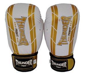 Luva de Boxe / Muay Thai 14oz  - Branco / Dourado  - Thunder Fight