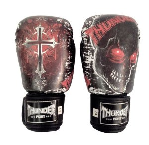 Luva de Boxe / Muay Thai 10oz  - Caveira / Cruz  - Thunder Fight