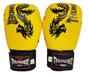 Luva de Boxe / Muay Thai 12oz  - Dragão Amarelo  - Thunder Fight