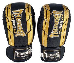 Luva de Boxe / Muay Thai 16oz  - Preto / Dourado - Thunder Fight