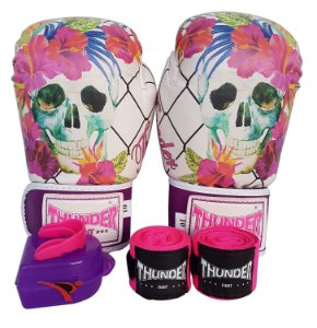 Kit de Boxe / Muay Thai 10oz Feminino - Caveira Grade - Thunder Fight