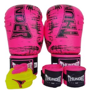 Kit de Boxe / Muay Thai 12oz Feminino - Rosa - Thunder Fight