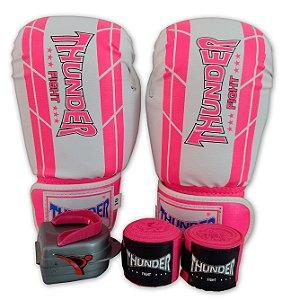 Kit de Boxe / Muay Thai 10oz Feminino - Branco / Rosa - Thunder Fight