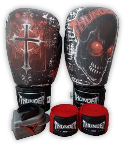 Kit de Boxe / Muay Thai 10oz - Caveira / Cruz - Thunder Fight