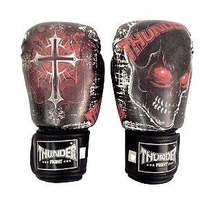 Luva de Boxe / Muay Thai 12oz  - Caveira / Cruz - Thunder Fight