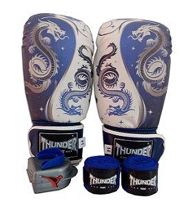 Kit de Boxe / Muay Thai 14oz - Dragão Azul - Thunder Fight