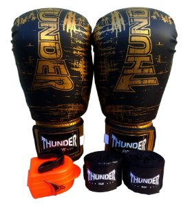 Kit de Boxe / Muay Thai 14oz - Preto / Dourado - Thunder Fight