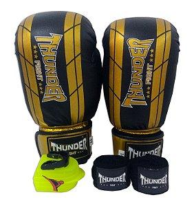 Kit de Boxe / Muay Thai 16oz - Preto / Dourado - Thunder Fight