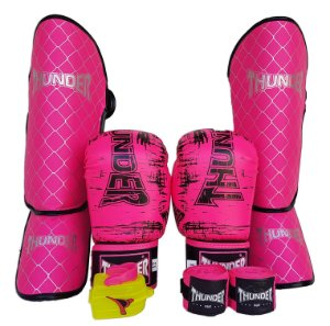 Kit de Muay Thai / Kickboxing 12oz Feminino - Rosa / Preto - Thunder Fight