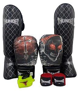 Kit de Muay Thai / Kickboxing 12oz - Caveira / Cruz - Thunder Fight