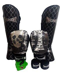 Kit de Muay Thai / Kickboxing 12oz - Caveira - Thunder Fight